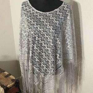 Silver Metallic Thread Crochet Shawl! OS